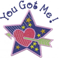 You Got Me Valentine embroidery design