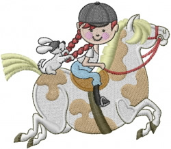 Child Horse Rider embroidery design