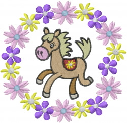 Horse with Flowers embroidery design