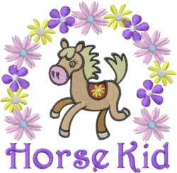 Horse Kid with Flowers embroidery design