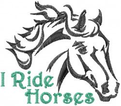 I Ride Horses embroidery design