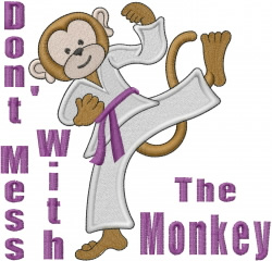 Karate Monkey embroidery design