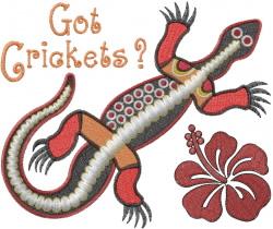 Lizard Got Crickets embroidery design