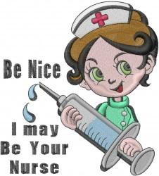 Be Nice Nurse embroidery design