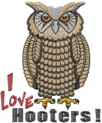 I Love Hooters! embroidery design