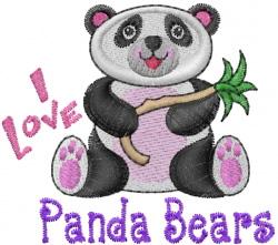 Love Panda Bears embroidery design