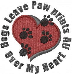 Dogs Leave Paw Prints embroidery design