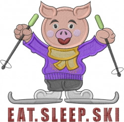 Eat Sleep Ski embroidery design