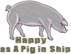 Happy Pig in Ship embroidery design