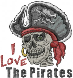 Pirate Skeleton Head embroidery design