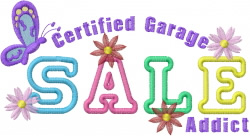 Garage Sale Sign embroidery design