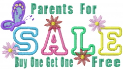 Parent Sale Sign embroidery design