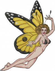 Sexy Monarch Fairy embroidery design