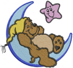 Bear on Crescent Moon embroidery design