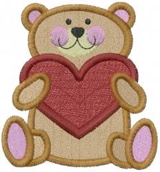 Teddy Bear with Heart embroidery design