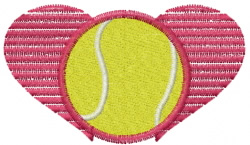 Heart Tennis Ball embroidery design