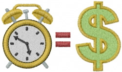 Time Equals Money embroidery design