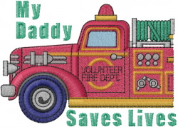 Fireman Dad embroidery design