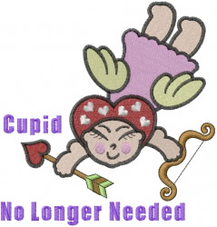 Cupid No Longer Needed embroidery design
