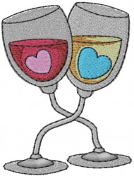 Wineglasses with Hearts embroidery design
