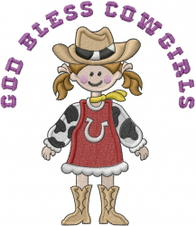 God Bless Cowgirls embroidery design