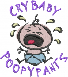 Crybaby Poopypants embroidery design