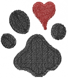Dog Paw and Heart embroidery design