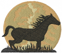 Horse In Moonlight embroidery design