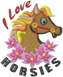 I Love Horsies embroidery design