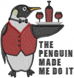 Penguin Serving Wine embroidery design