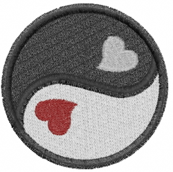 Yin Yang  With Hearts embroidery design