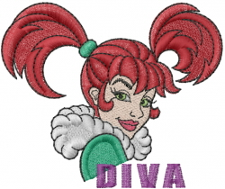 Diva Girl embroidery design