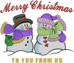 Snowman Couple embroidery design