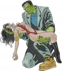 Frankenstein And Lady embroidery design