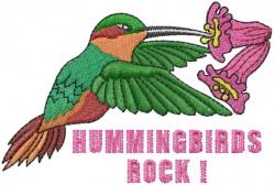 Hummingbirds Rock embroidery design