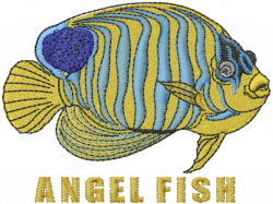 Regal Angel Fish embroidery design