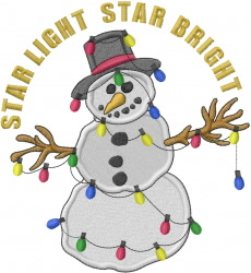 Snowman With Lights embroidery design