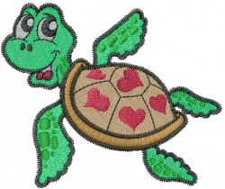 Turtle With Hearts embroidery design