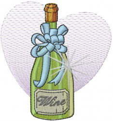 Wine Bottle With Ribbon embroidery design