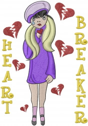 HEART BREAKER embroidery design