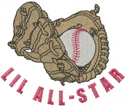 Baseball Mitt And Ball embroidery design