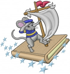 Book Mouse Sailing embroidery design