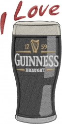 I Love Guinness embroidery design