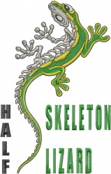 Half Skeleton Lizard embroidery design