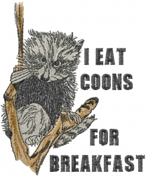 Raccoon Breakfast embroidery design