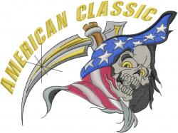 American Classic Skull embroidery design