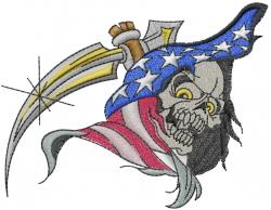 American Skull embroidery design