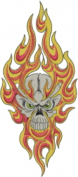 Skull With Fire embroidery design