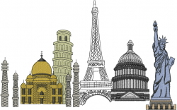 Travel International embroidery design