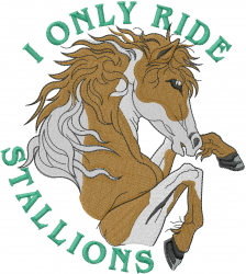 Ride Stallions embroidery design